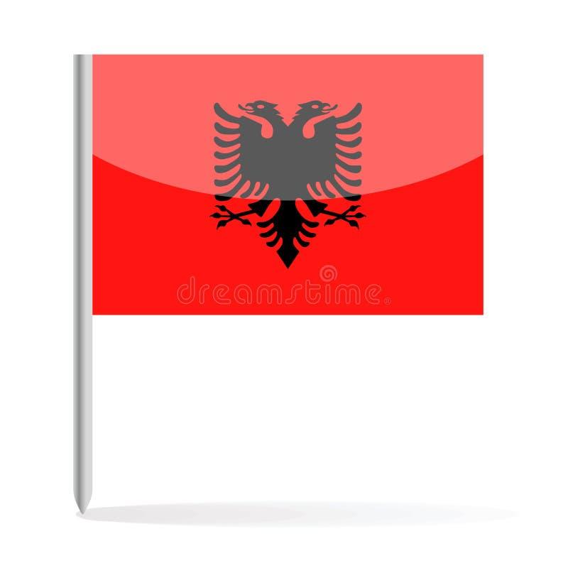 Drapeau Pin Vector Icon de l'Albanie illustration stock