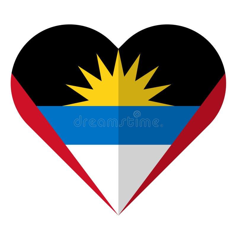Drapeau plat de coeur de l'Antigua-et-Barbuda illustration stock