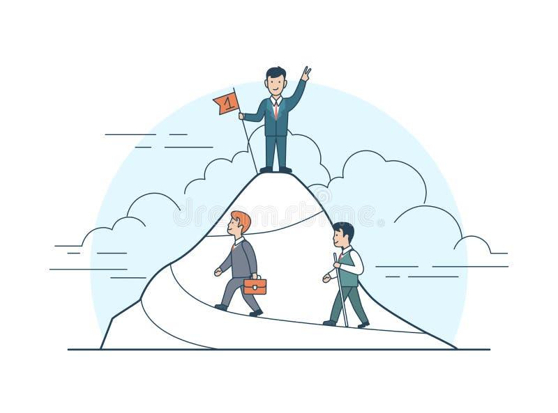 Drapeau plat linéaire de montagne d'homme d'affaires d'accomplissement illustration de vecteur