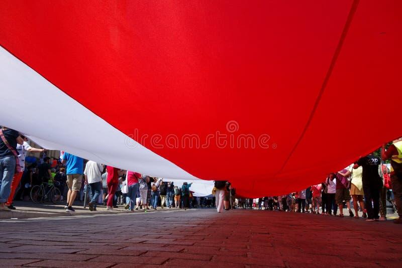 Drapeau polonais de géant sur une démonstration à Varsovie, Pologne photo stock