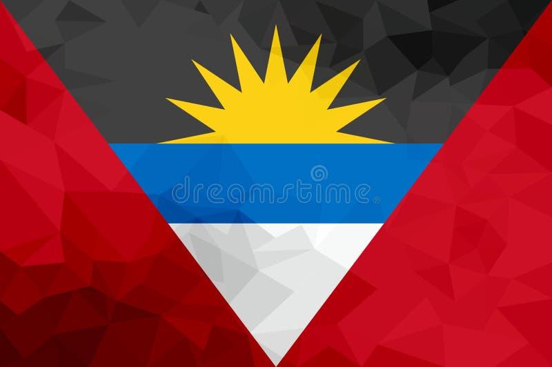 Drapeau polygonal de l'Antigua-et-Barbuda Fond moderne de mosaïque Dessin géométrique illustration libre de droits
