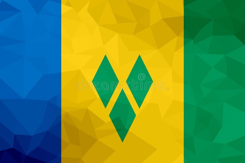 Drapeau polygonal de Saint-Vincent-et-les-Grenadines Fond moderne de mosaïque Dessin géométrique illustration stock
