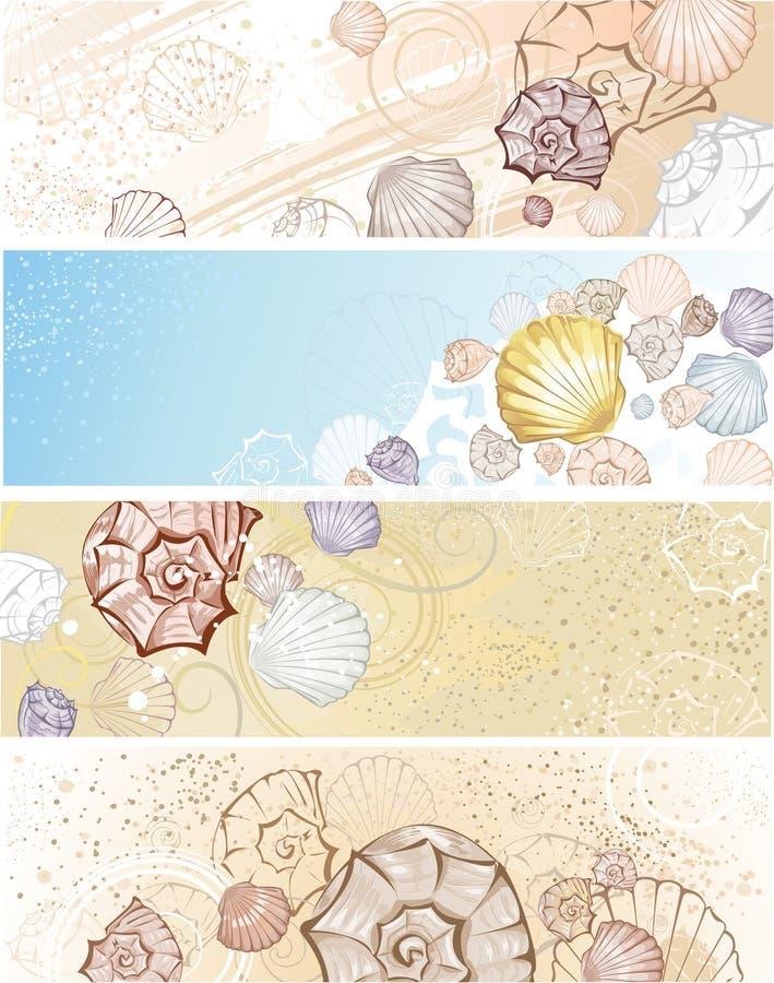 Drapeau quatre avec des seashells illustration libre de droits