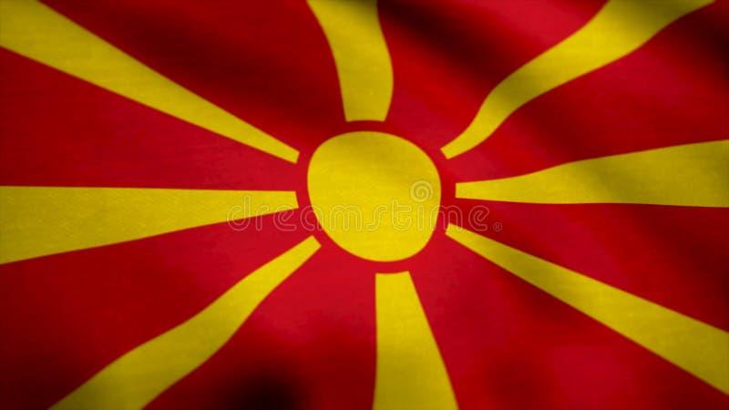 Drapeau réaliste de Macédoine sur la surface onduleuse du tissu Drapeau du fond de la république de Macédoine photos libres de droits