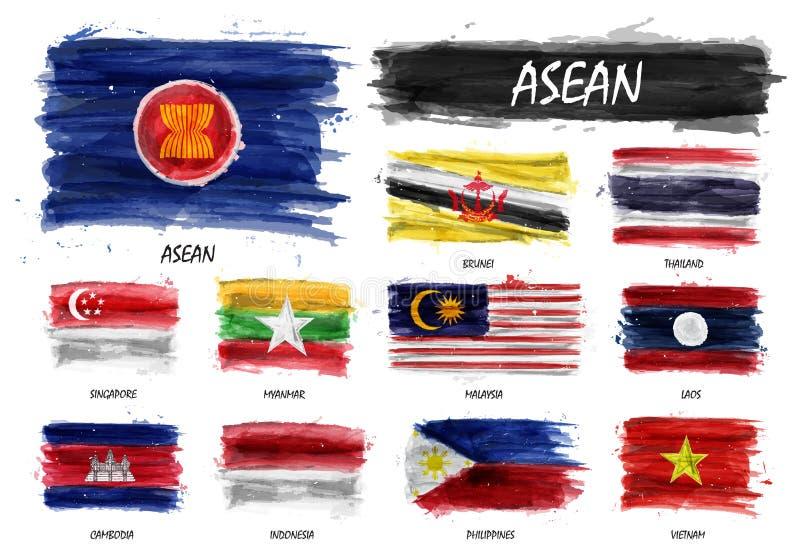 Drapeau réaliste de peinture d'aquarelle d'association d'ASEAN des nations et de l'adhésion asiatiques du sud-est sur le fond d'i illustration de vecteur