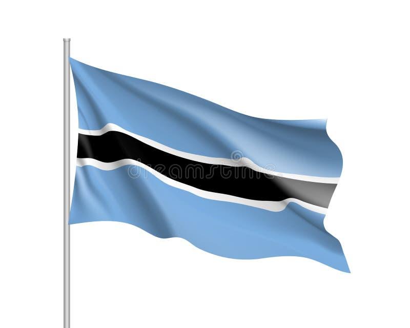 Drapeau réaliste du Botswana illustration libre de droits