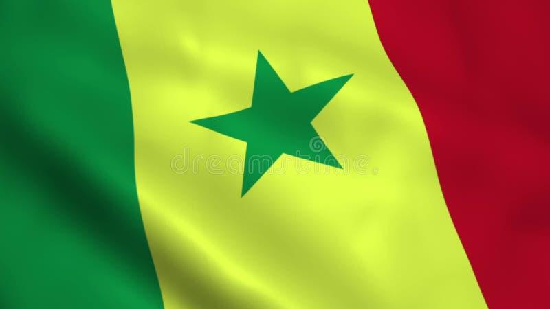 Drapeau réaliste du Sénégal illustration stock