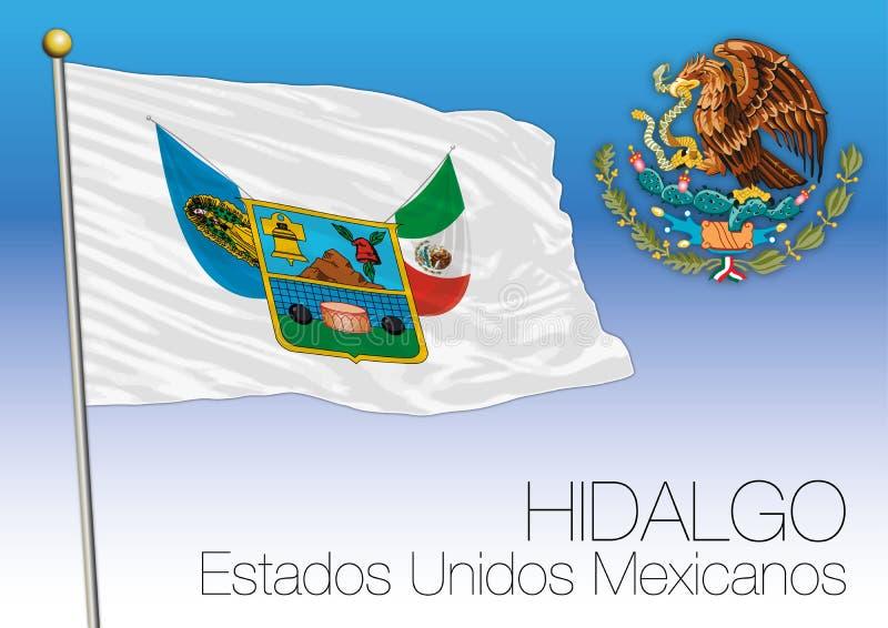 Drapeau régional d'état de Hidalgo, États-Unis du Mexique, Mexique illustration stock