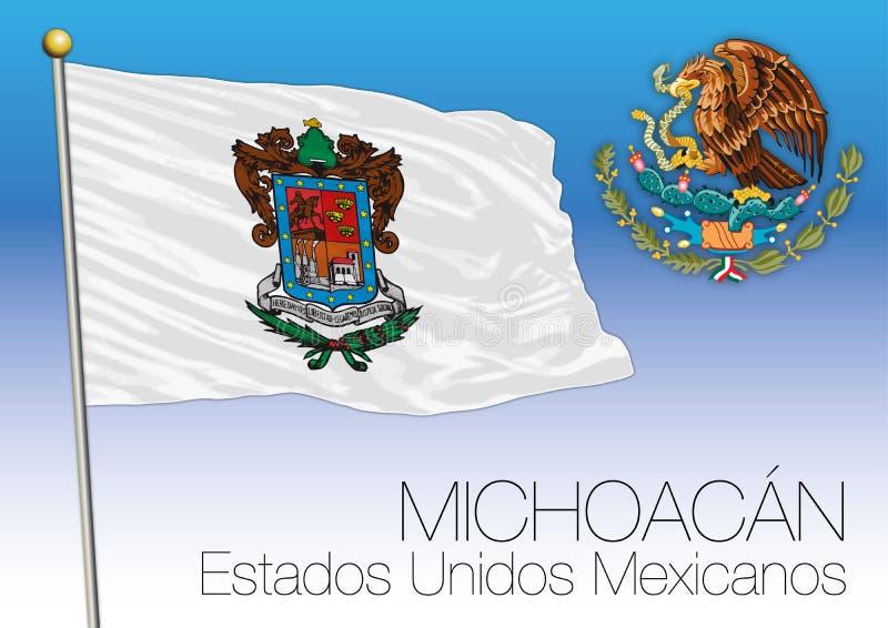 Drapeau régional d'état de Michoacan, États-Unis du Mexique, Mexique illustration stock