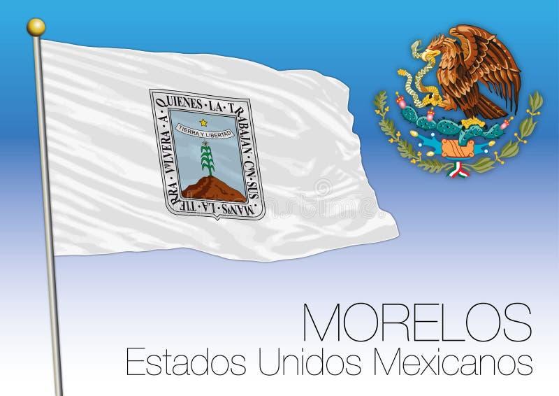 Drapeau régional d'état de Morelos, États-Unis du Mexique, Mexique illustration stock