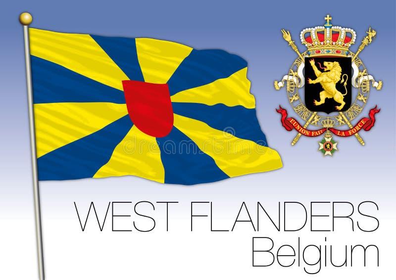 Drapeau régional de la Province de Flandre-Occidentale, Belgique illustration stock