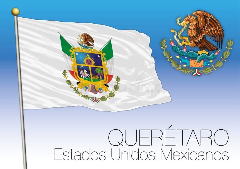 Drapeau régional de Queretaro, États-Unis du Mexique, Mexique illustration libre de droits