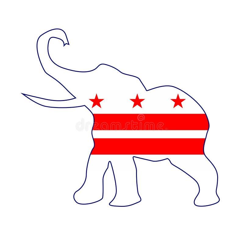 Drapeau républicain d'éléphant de Washington DC illustration de vecteur