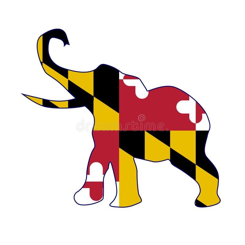 Drapeau républicain d'éléphant du Maryland illustration stock
