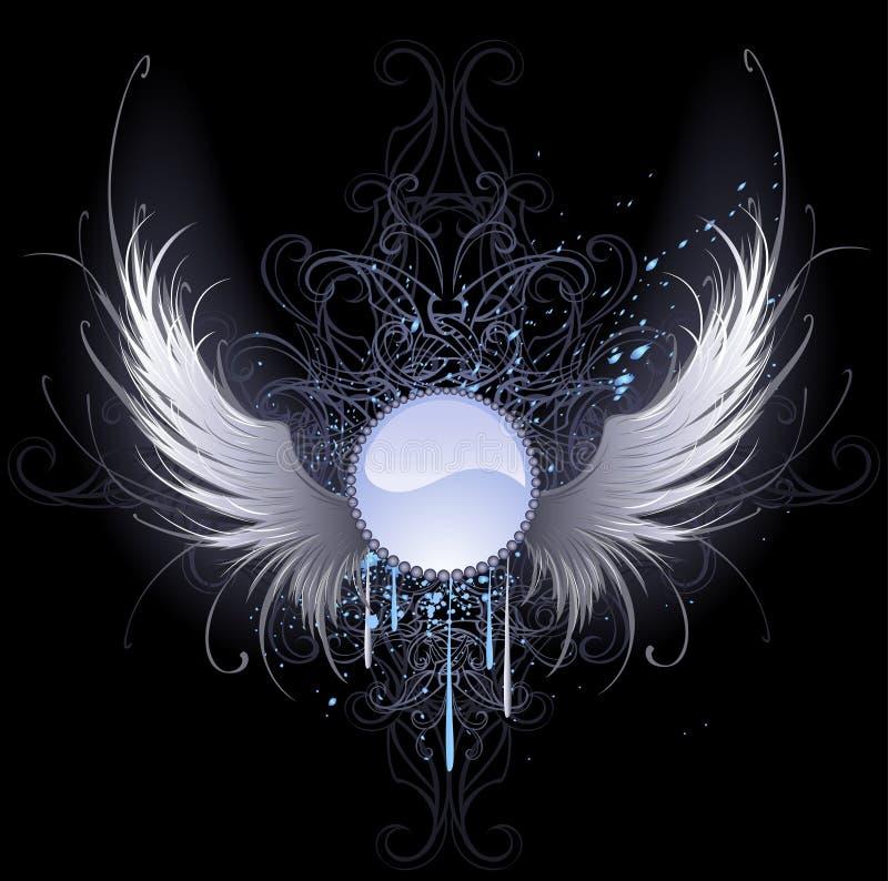 Drapeau rond avec des ailes d'ange illustration de vecteur