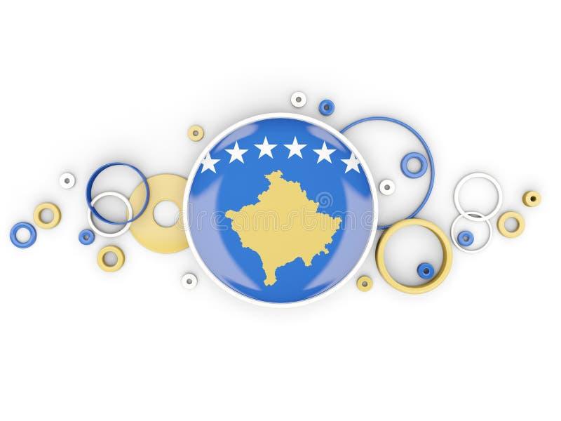 Drapeau rond du Kosovo avec le modèle de cercles illustration libre de droits