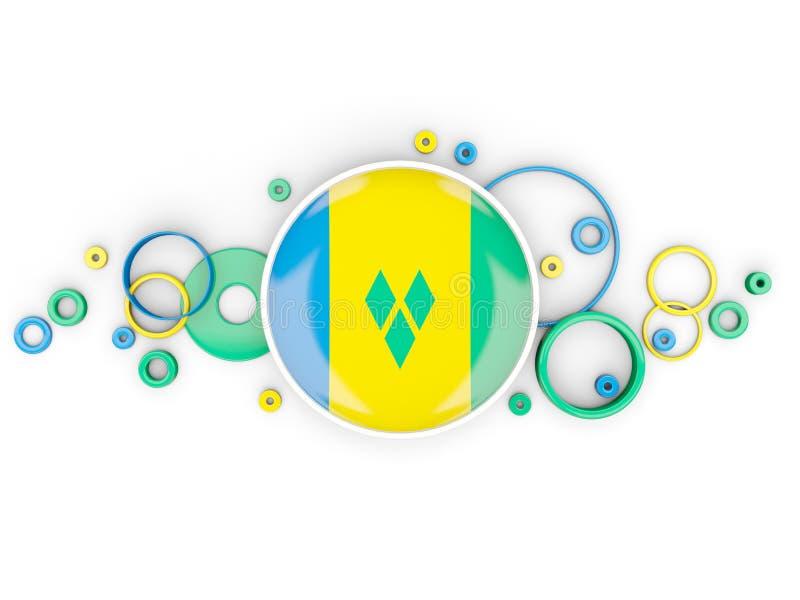 Drapeau rond du Saint-Vincent-et-les Grenadines avec le patt de cercles illustration de vecteur