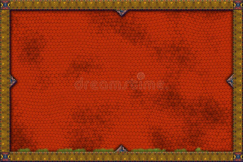 Drapeau rouge de lézard illustration stock