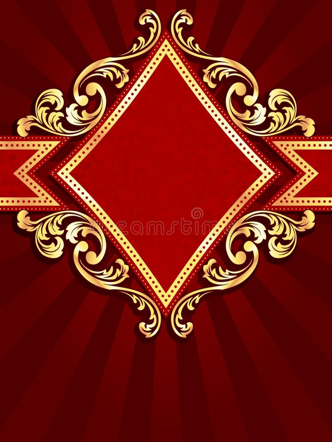 Drapeau rouge en forme de diamant vertical avec le fil d'or illustration libre de droits