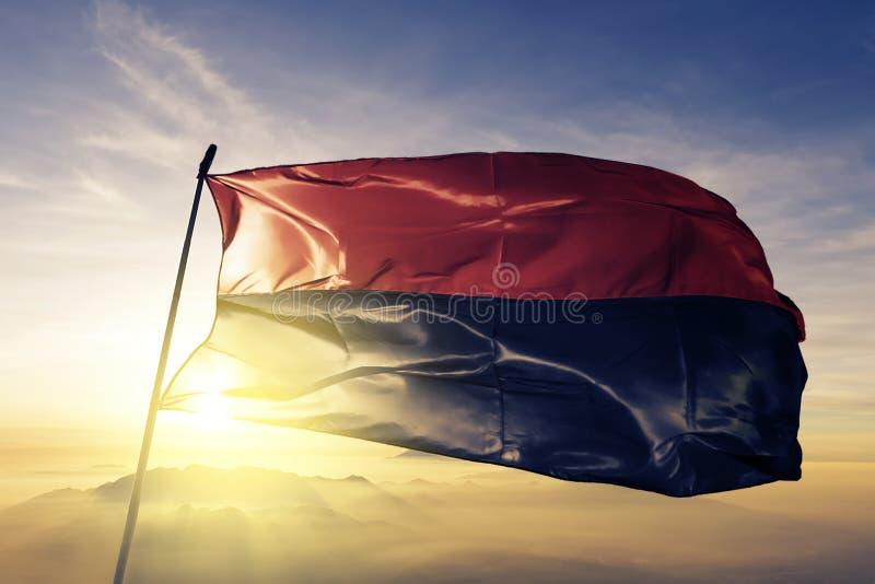 Drapeau rouge et noir des nationalistes ukrainiens dans le tissu de tissu de textile de drapeau de l'Ukraine ondulant sur le brou illustration de vecteur