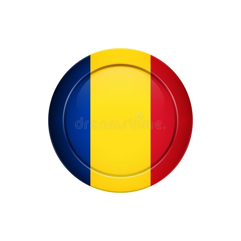 Drapeau roumain sur le bouton rond, illustration de vecteur illustration de vecteur