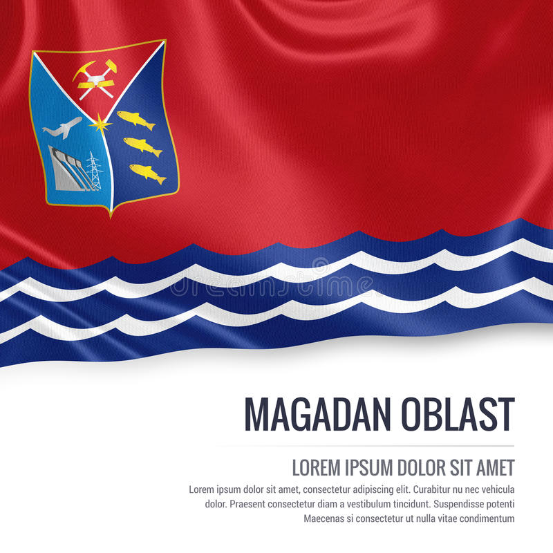 Drapeau russe de Magadan Oblast d'état illustration stock
