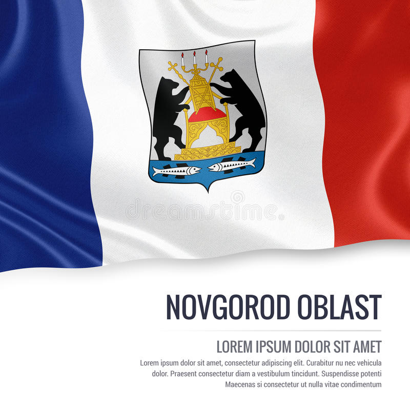Drapeau russe de Novgorod Oblast d'état ondulant sur un b blanc d'isolement illustration stock