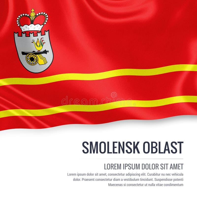 Drapeau russe de Smolensk Oblast d'état ondulant sur un b blanc d'isolement illustration de vecteur