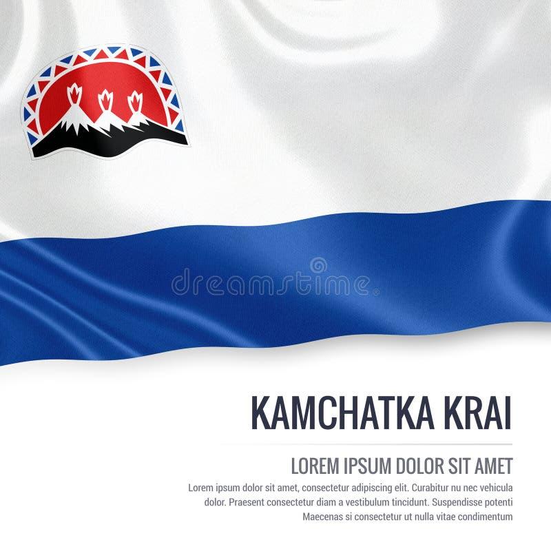 Drapeau russe du Kamtchatka Krai d'état ondulant sur un Ba blanc d'isolement illustration libre de droits