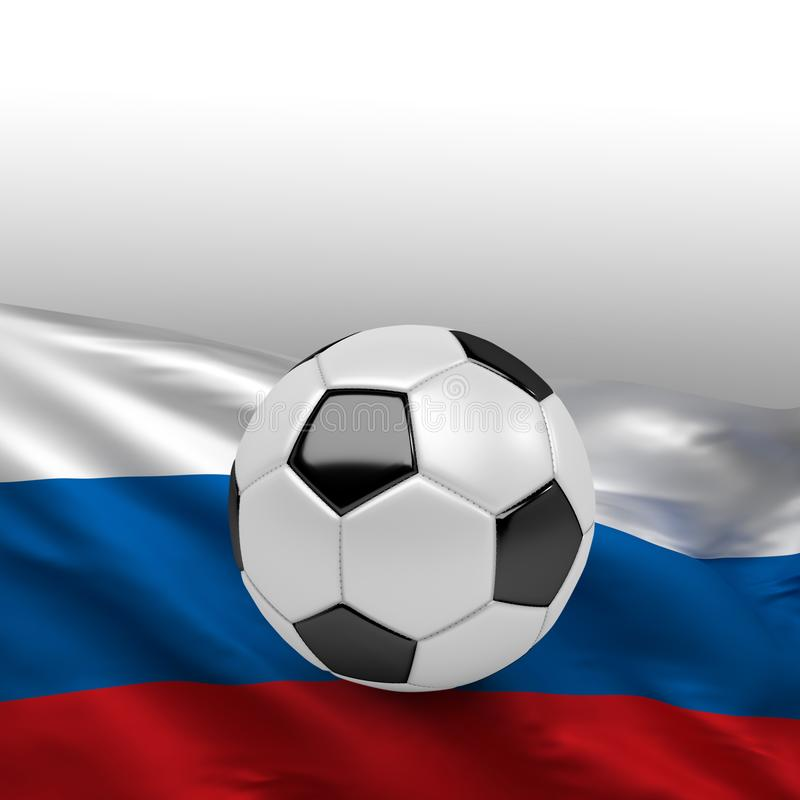 Drapeau russe, le football de la Russie, ballon de football, rendu 3D illustration libre de droits