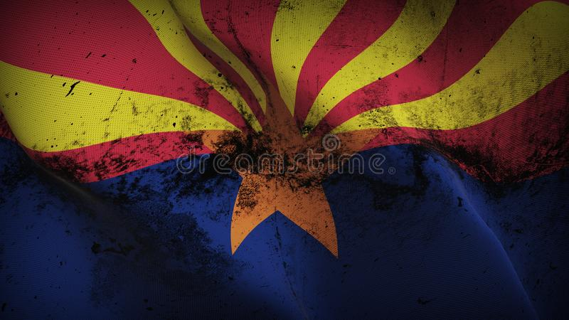 Drapeau sale grunge d'état de l'Arizona USA ondulant sur le vent illustration stock