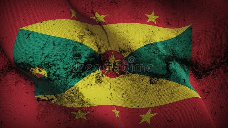 Drapeau sale grunge du Grenada ondulant sur le vent illustration de vecteur