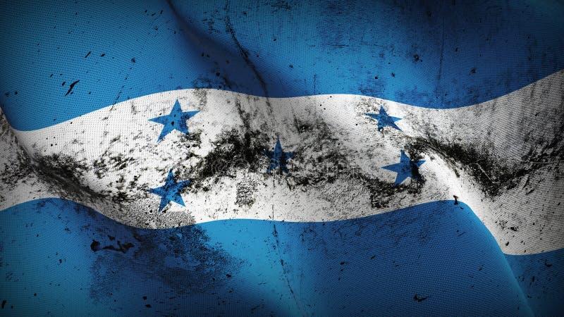 Drapeau sale grunge du Honduras ondulant sur le vent illustration libre de droits