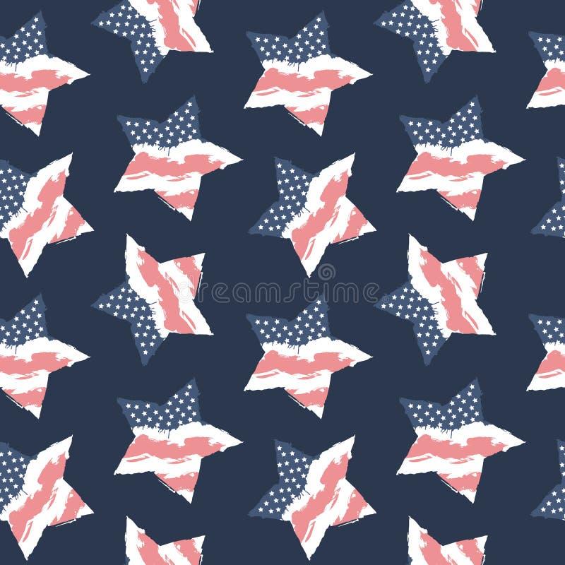 Drapeau sans couture Etats-Unis de modèle Fond américain illustration de vecteur
