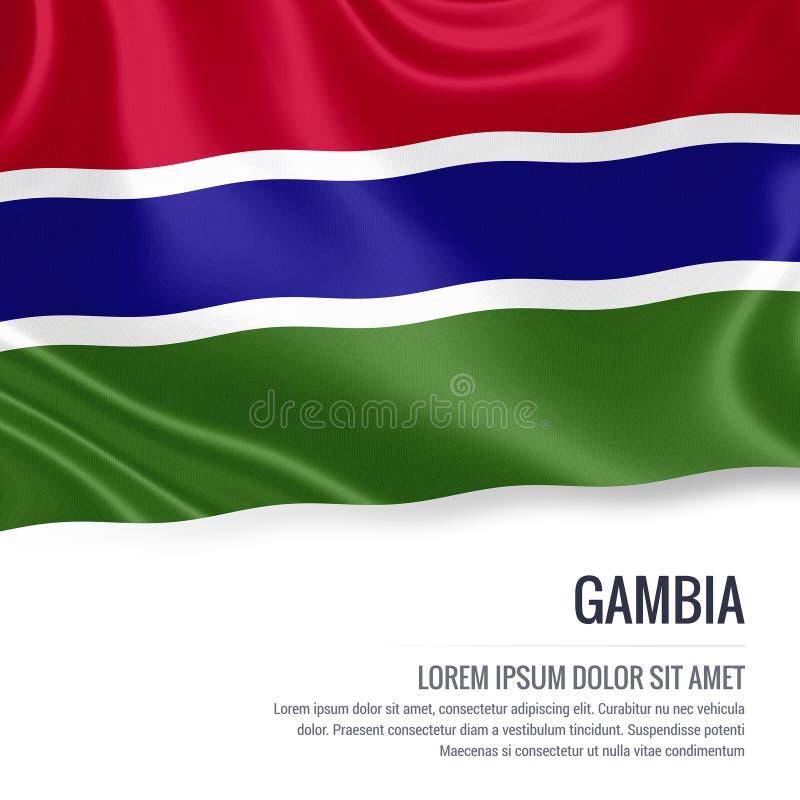 Drapeau soyeux de la Gambie ondulant sur un fond blanc d'isolement avec le secteur blanc des textes pour votre message d'annonce illustration stock