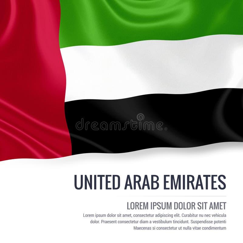 Drapeau soyeux des Emirats Arabes Unis ondulant sur un fond blanc d'isolement avec le secteur blanc des textes pour votre message illustration libre de droits