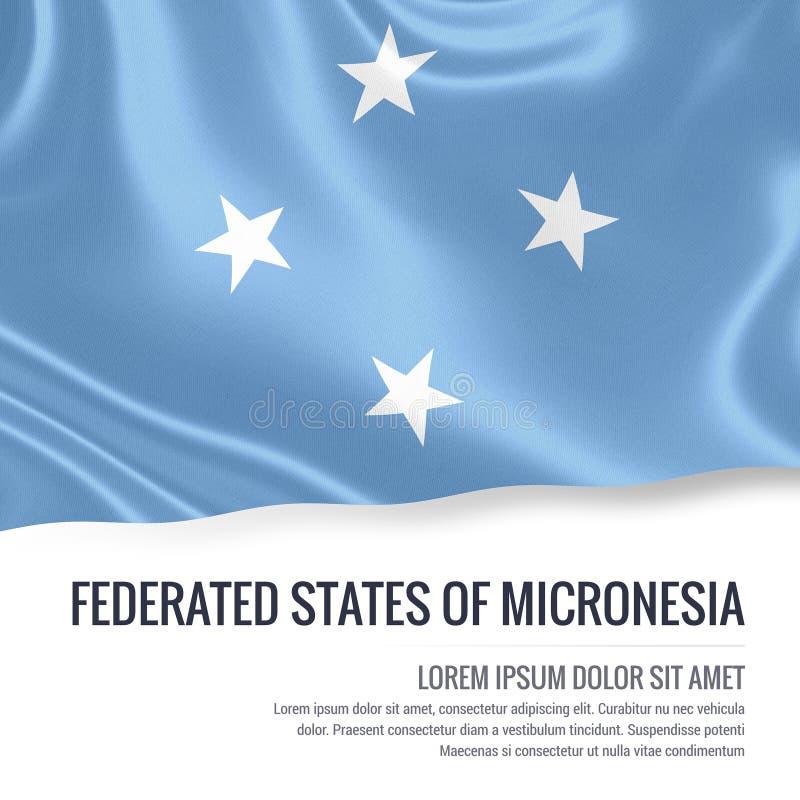 Drapeau soyeux des Etats fédérés de Micronésie ondulant sur un fond blanc d'isolement avec le secteur blanc des textes illustration de vecteur