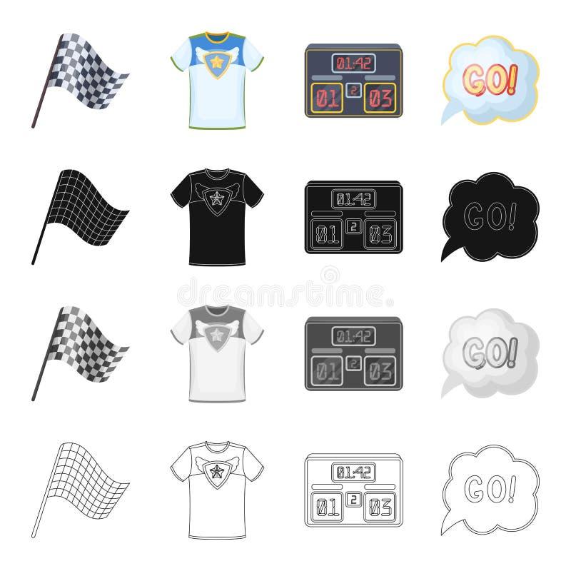 Drapeau, sports, symbole et toute autre icône de Web dans le style de bande dessinée Formation, accomplissement, icônes de symbol illustration libre de droits