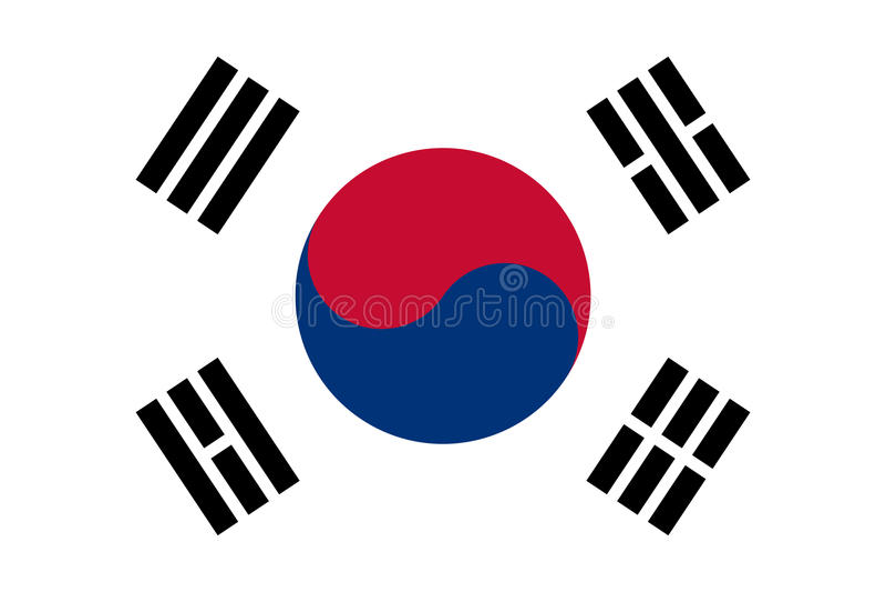 Drapeau sud-coréen, disposition plate, illustration illustration stock