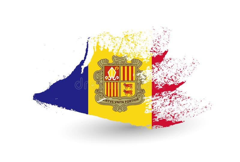 Drapeau tiré par la main de style de l'Andorre illustration de vecteur