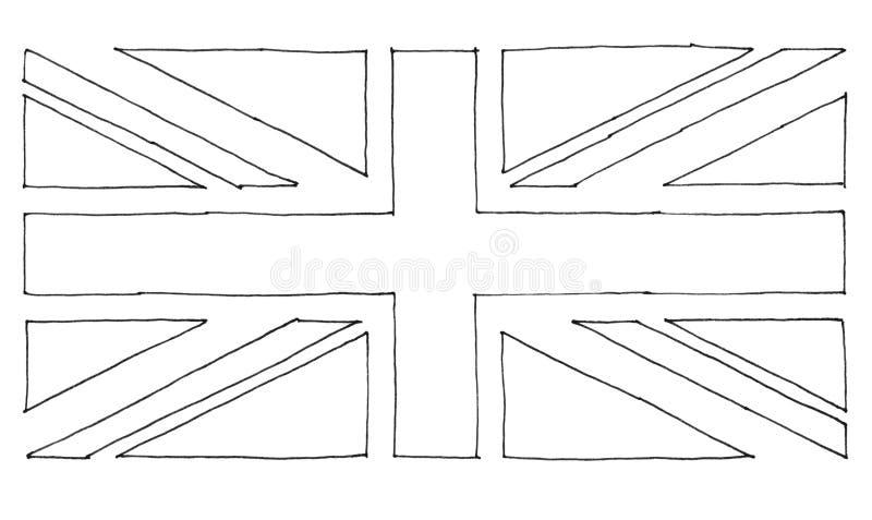 drapeau tir? par la main du Royaume-Uni (R-U) aka Union Jack illustration libre de droits