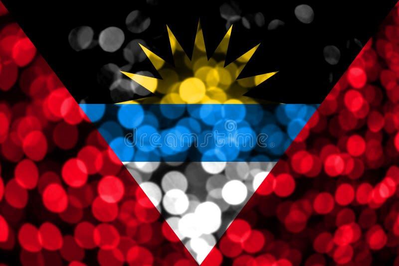 Drapeau trouble abstrait de bokeh de l'Antigua-et-Barbuda Noël, nouvelle année et drapeau de concept de jour national illustration de vecteur