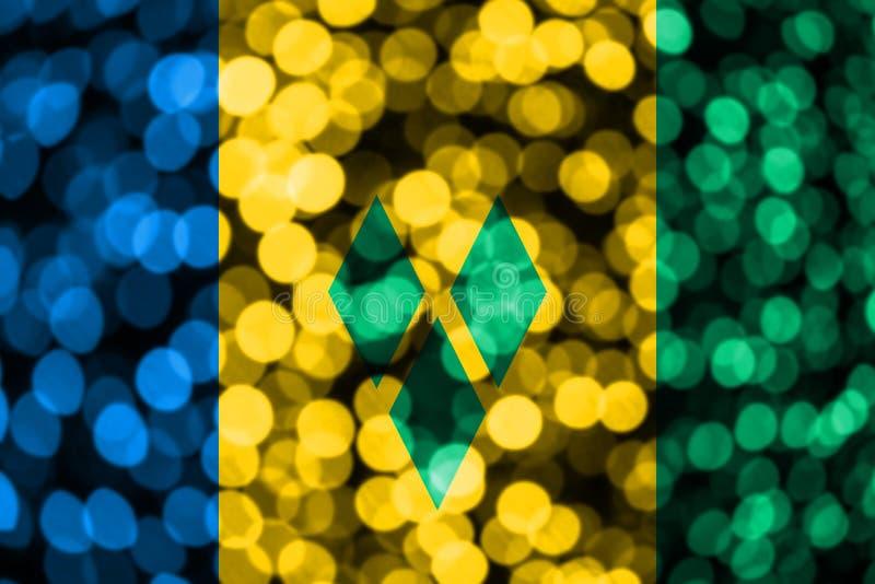 Drapeau trouble abstrait de bokeh de Saint-Vincent-et-les-Grenadines Noël, nouvelle année et drapeau de concept de jour national illustration de vecteur