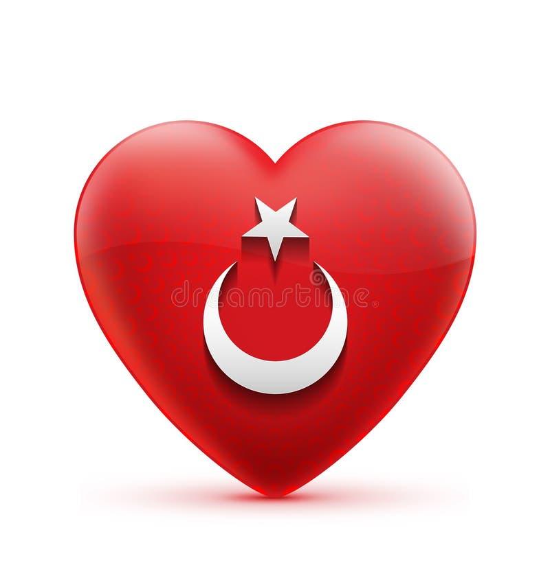 Drapeau turc iconique de coeur rouge illustration stock