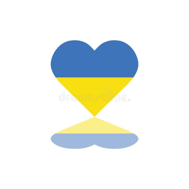 Drapeau ukrainien de vecteur à l'intérieur de conception graphique de calibre d'illustration d'élément de forme de coeur illustration de vecteur