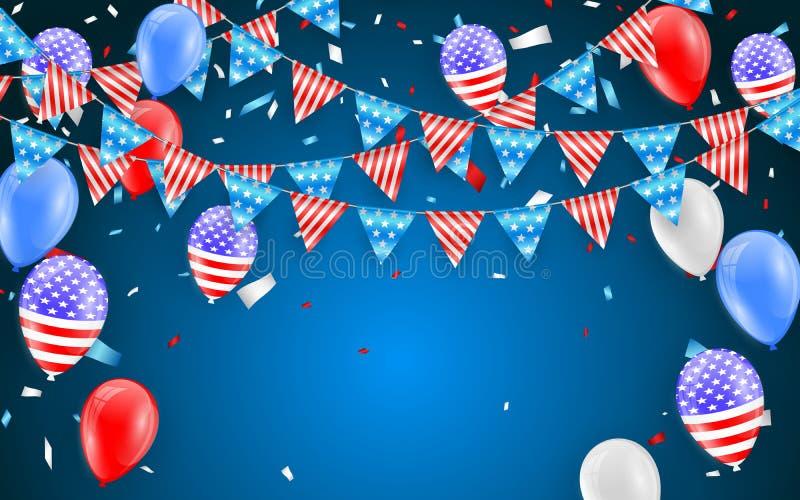 Drapeaux accrochants d'étamine pour le design de carte américain de vacances Ballons de drapeau américain avec le fond de confett illustration libre de droits