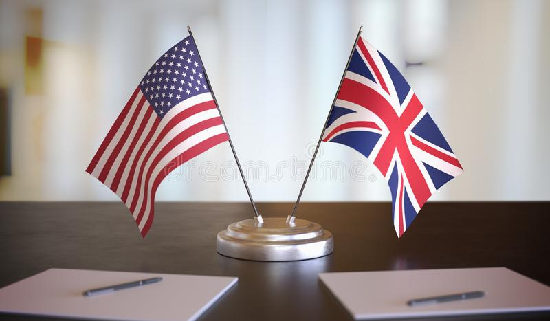 Drapeaux américains et britanniques sur la table Négociation entre le Royaume-Uni et les États-Unis Illustration de rendu 3D image libre de droits