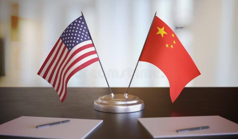 Drapeaux américains et chinois sur la table Négociation entre la Chine et les États-Unis Illustration de rendu 3D image libre de droits