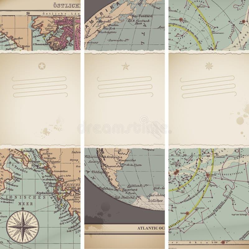 Drapeaux antiques de carte illustration libre de droits