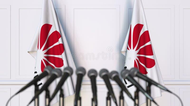 Drapeaux avec le logo de Huawei à la conférence de presse Rendu conceptuel de l'?ditorial 3D photos libres de droits